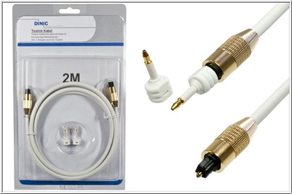 Toslink Kabel, 2 m, weiß + 2 Adapter auf mini Toslink