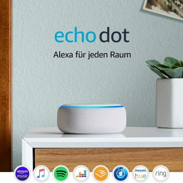 Echo Dot (3. Gen.), Intelligenter Lautsprecher mit Alexa, Sandstein
