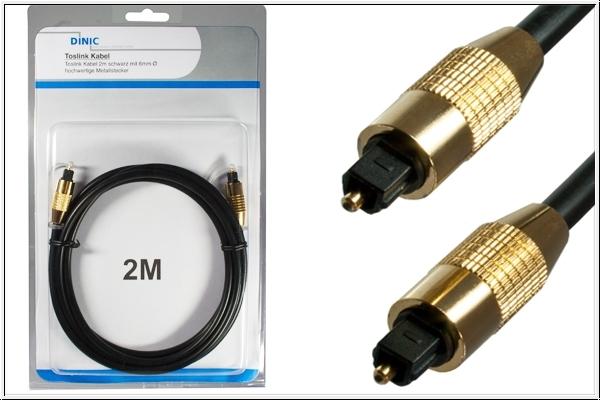 Toslink Kabel, 2 m, schwarz + 2 Adapter auf mini Toslink
