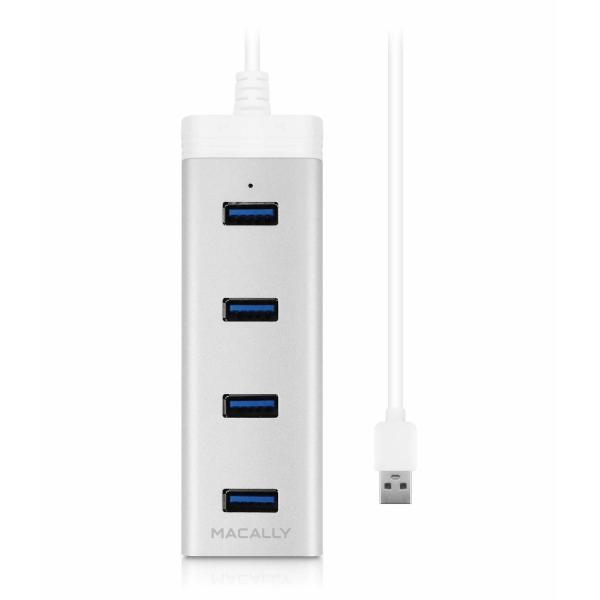 Macally U3HUBA Aluminium USB 3.0-Hub mit 4 Anschlüssen