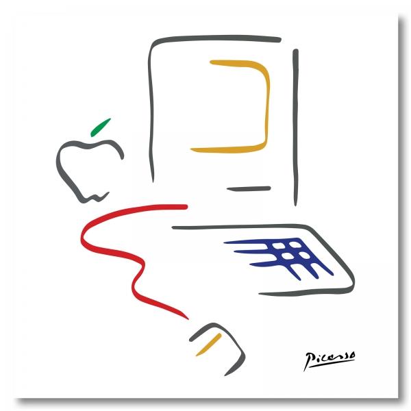 """Macintosh Markenlogo """"Picasso"""", Leinwand, 50 x 50 cm"""