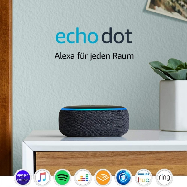 Echo Dot (3. Gen.), Intelligenter Lautsprecher mit Alexa, Anthrazit